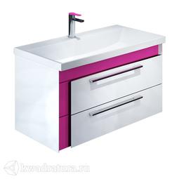 Тумба Iddis Color Plus подвесная белая/розовая 90 см с умывальником COL90P0i95