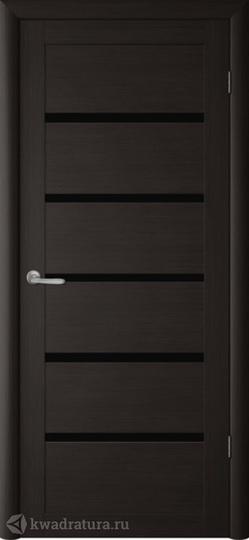 Межкомнатная дверь Фрегат (ALBERO) Вена темный кипарис, стекло черное