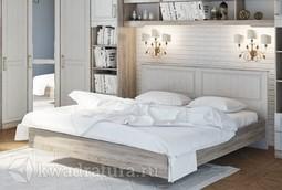 Двуспальная кровать «Прованс» (Дуб Сонома трюфель/Крем) без матраса ТР