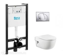 Система инсталляции Roca Active c унитазом подвесным Roca Meridian Compact с сиденьем микролифт и кнопкой смыва хром 893104110