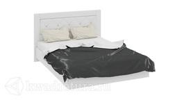 Кровать «Амели» с мягким изголовьем (Белый глянец) без матраса ТР