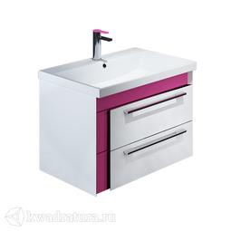 Тумба Iddis Color Plus подвесная белая/розовая 60 см с умывальником COL60P0i95