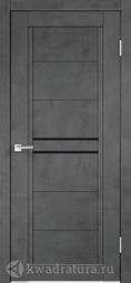 Межкомнатная дверь Velldoris (Веллдорис) NEXT 2 муар темно-серый, стекло лакобель черное