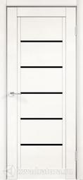 Межкомнатная дверь Velldoris (Веллдорис) NEXT 1 эмалит белый, стекло лакобель черное