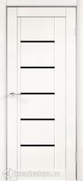 Межкомнатная дверь Velldoris (Веллдорис) NEXT 3 эмалит белый, стекло лакобель черное