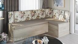 Скамья угловая со спальным местом «Париж» цветы коричневые