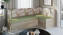 Скамья угловая со спальным местом «Париж» цветы зеленые