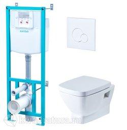 Система инсталляции Santek с подвесным унитазом Santek Нео с сиденьем и белой кнопкой
