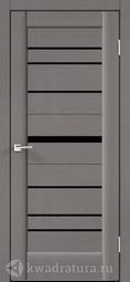 Межкомнатная дверь Velldoris (Веллдорис) PREMIER 20 Ясень грей структурный, стекло черное лакобель