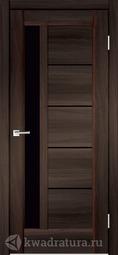 Межкомнатная дверь Velldoris (Веллдорис) PREMIER 3 Орех каштан, стекло черный лакобель