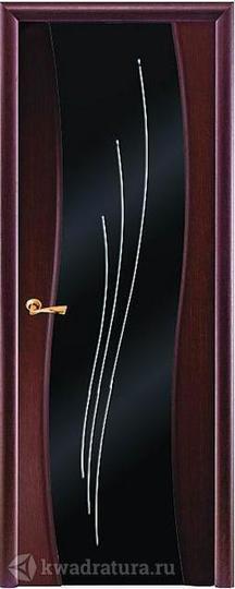 Межкомнатная дверь Луидор Рио, тонированный черный дуб, темное с/о, Swarovski