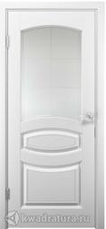 Межкомнатная дверь ДвериХолл Аделия Эмаль, Белый, со стеклом